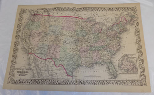 1875 Antique COLOR Mitchell Map of UNITED STATES AND TERRITORIES