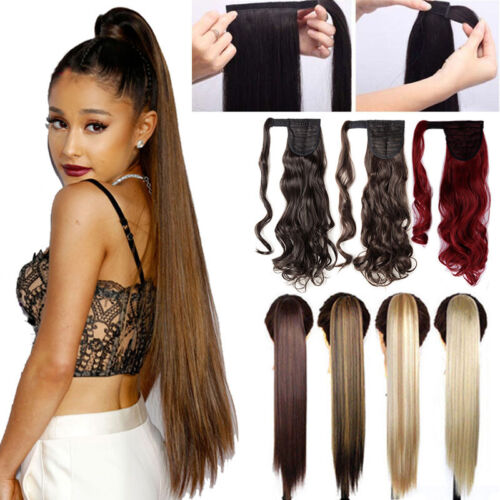 "100% Real Thick Clip On Ponytail Hair Peies Hair Extensions 26"" Long Straight K2"