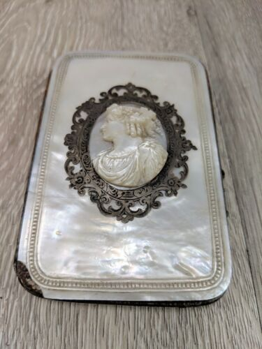 Vintage Antique Mother of Pearl Cameo French Card Holder Clutch c.1800's
