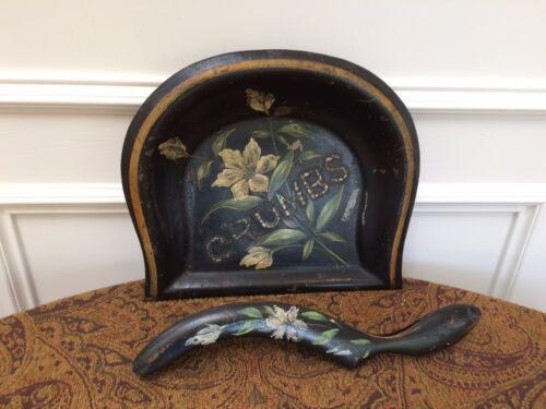 ANTIQUE VICTORIAN TOLE & MOTHER OF PEARL CRUMBS TRAY & BRUSH SET BUTLER FLOWERS