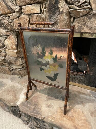 ANTIQUE VINTAGE VICTORIAN BAMBOO FIRESCREEN FIREPLACE HAND PAINTED OIL FLOWERS