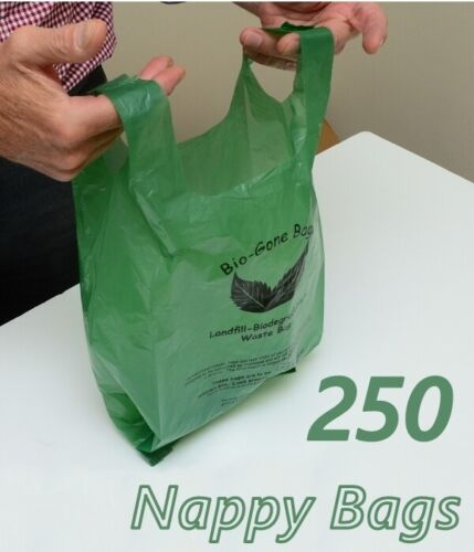 Nappy Bag Biodegradable Baby Poo Bag with Gussets Fit Large Nappies | 250 Bags