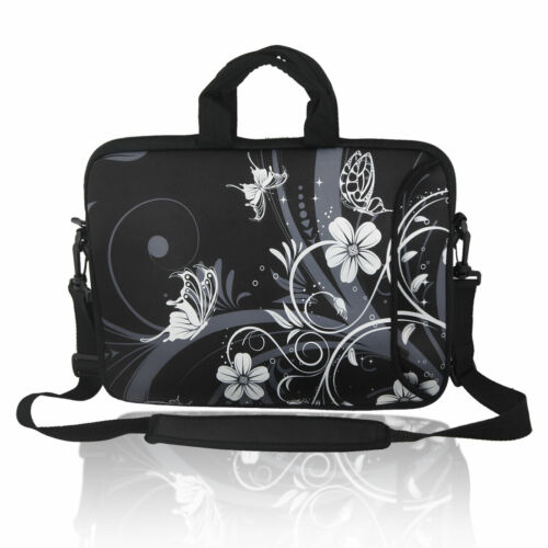 "13"" 13.3"" Butterfly Pattern Laptop Shoulder Sleeve Bag Case w Strap for HP Folio"
