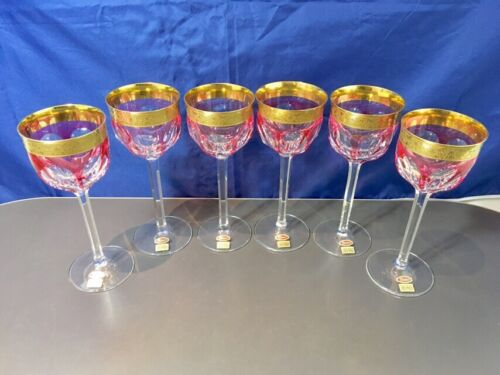 Moser Crystal Overlay Pink 6 Wine Glass 13887/OP Calici Vino del Reno NEW IN BOX