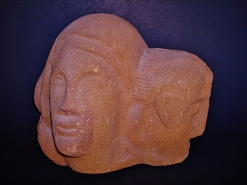 "Two Carved Heads on a very Heavy 12"" W x 10"" H x 7"" D Sandstone"