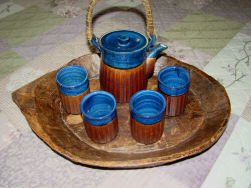 Vintage Asian Pottery Japanese Ceramic Teapot with 4 Cups and Wood Tray Brown @H