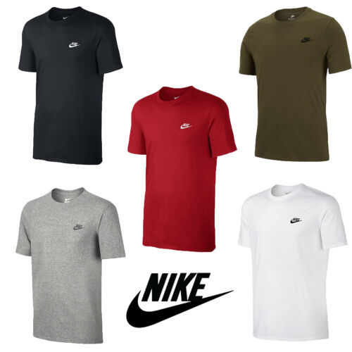 Mens Nike Logo T-Shirt Sports Top Retro Fitted Cotton Tee Size S,M,L,XL,XXL NEW