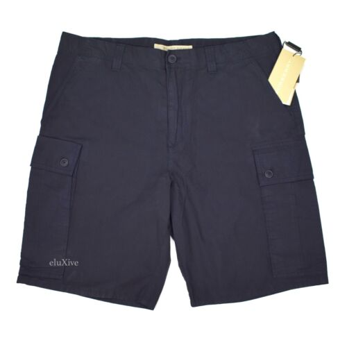 NWT $295 Burberry Men's Navy Blue Cotton Leather Logo Cargo Shorts AUTHENTIC
