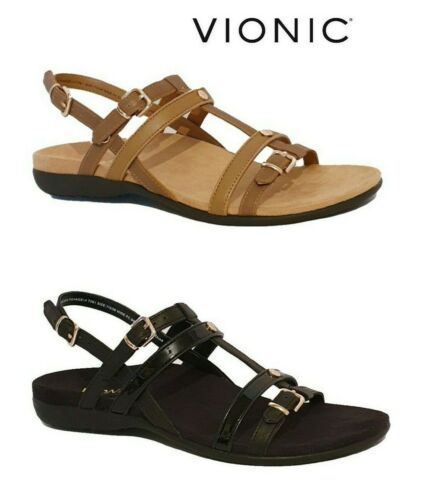 NEW VIONIC INCORO BLACK BROWN LEATHER SANDALS WIDE FMT ORTHOTIC T BAR WOMENS