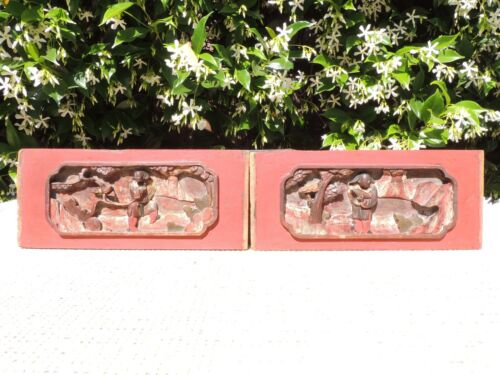 179 P Antique Carved  Wood Panel  w/ Figure