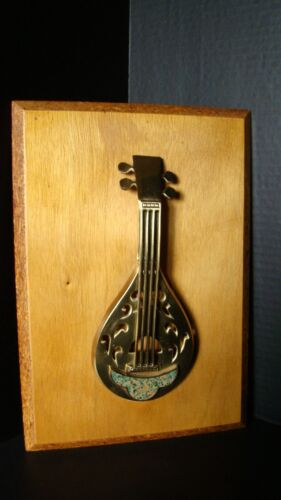 Handcrafted In Israel Brass Mandolin W/Stone Inlay Mounted On Wood Wall Hanging