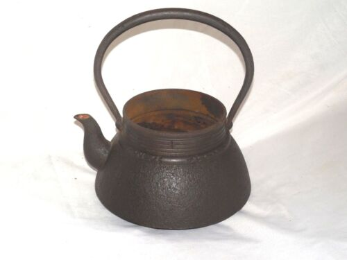 LARGE ANTIQUE SIGNED JAPANESE CAST IRON WATER  KETTLE TEAPOT 10 1/4 INCHES TALL