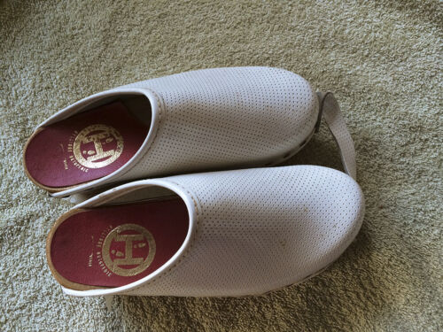 WHITE  60's real Leather childrens Vintage Swedish Orthopedic Wood Clogs Size 11