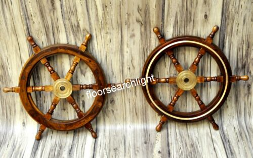 Wooden Ship Wheel Brown Boat Steering SET OF 2 Wall Decor Look 24 Inch