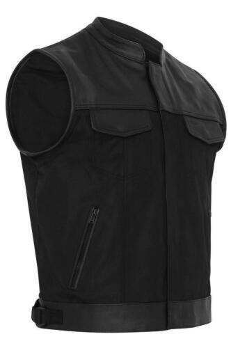 Mens Codura Fabric Vest Genuine Leather Trim Biker Black leather Waistcoat Vest