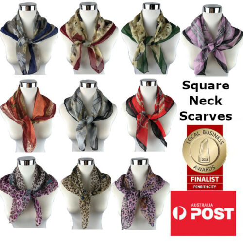 Women's Small Vintage Printed Square Neck Scarf Neck Tie Head Band Made in KOREA