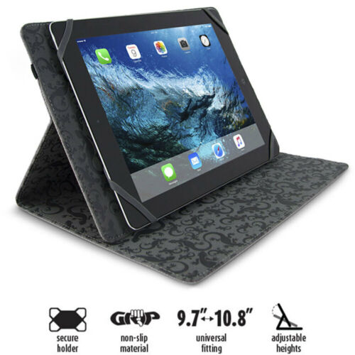 """Gecko Black Universal Grip Folio Secure Case Cover for Tablet iPad 9.7""""-10.8"""""""