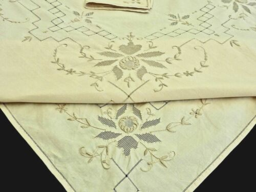 WONDERFUL VINTAGE HAND CRAFTED ECRU COTTON MADEIRA TABLECLOTH & 6 NAPKINS UNUSED