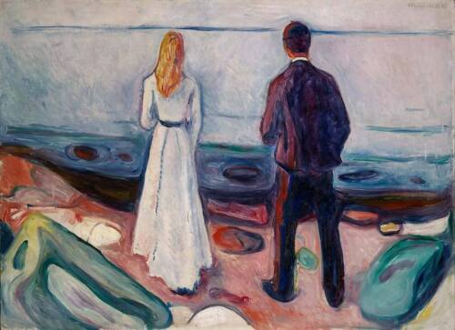 Home Decoration Office Decor Canvas Print Edvard Munch Lonely Ones Small 8x10