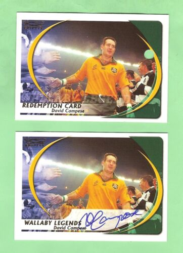 #D434.  2003 KRYPTYX RUGBY UNION REDEMPTION SIGNATURE CARD - DAVID CAMPESE #223Rugby Union Cards - 2969