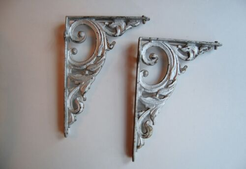 Cast iron wall brackets(2), vintage, painted silver