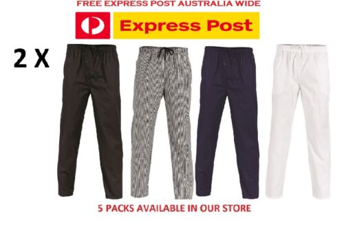 2 X Polyester Cotton Drawstring Chef Pants- DNC Workwear 1501