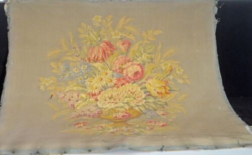 ANTIQUE FRENCH TAPESTRY SQUARE FLOWER URN UU586