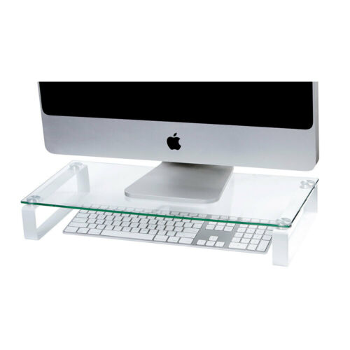 Esselte 60cm Glass Computer Monitor Desktop/PC Riser/Holder Stand Clear/White