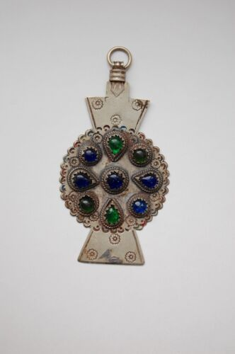 Antique Berber Moroccan amulet pendant, large, silver and glass, hand crafted