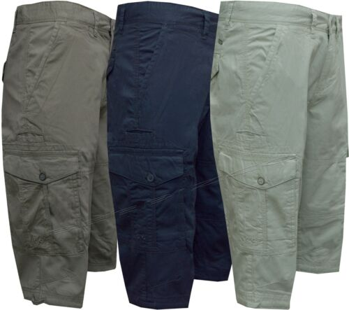 """Mens 3/4 Length Shorts 100% Cotton Ex Store Summer Casual with 8 Pockets 34""""-48"""""""