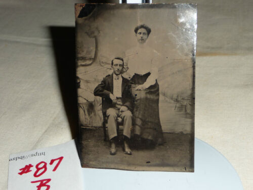 antique vtg TINTYPE photo couple   3 1/2'' x  2 1/2''
