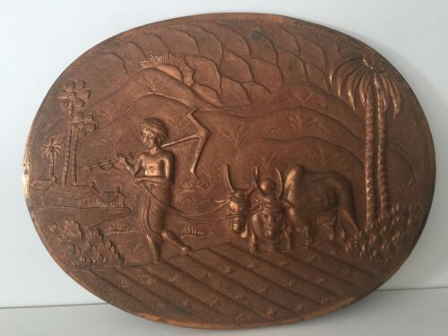 """Vintage Indian Handcrafted Embossed Copper Oval Wall Panel, 13 3/4"""" x 10 3/4"""""""