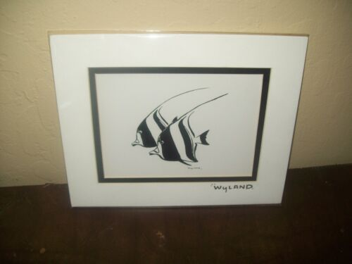 By Wyland with Silver Foil Stamp (Reef Fish) Black And White