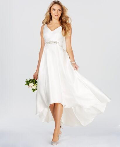$490 ADRIANNA PAPELL Womens WHITE SLEEVELESS EMBELLISHED HIGH LOW GOWN SIZE 6