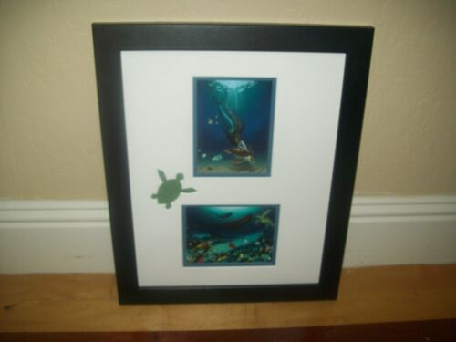 Mermaid With Turtle Cut Out By Wyland Custom Framed Double Matted Hawaii Artist