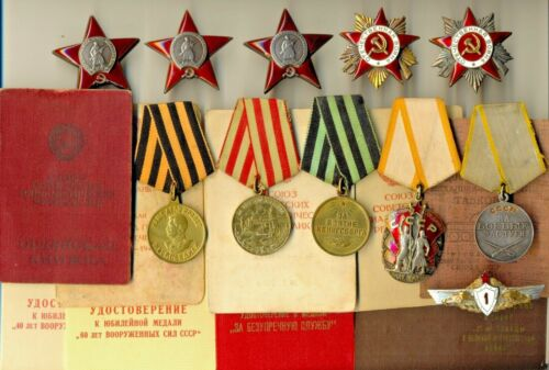 Soviet Banner Medals 3 Order of the Red Star documents Tanks GPW   (1571)Medals, Pins & Ribbons - 165608