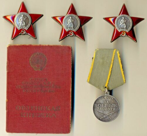 Soviet Banner Medal 3 Order of the Red Star document  Air Force B-25  (1086)Medals, Pins & Ribbons - 165608