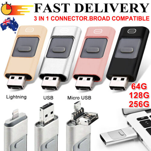 256GB i Flash Drive USB Memory Stick HD U Disk 3 in 1 for Android IOS iPhone PC^