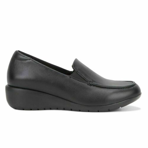 WOMENS HUSH PUPPIES DIAZ Black Wedge Wedges Leather Work Casual Ladies Shoes