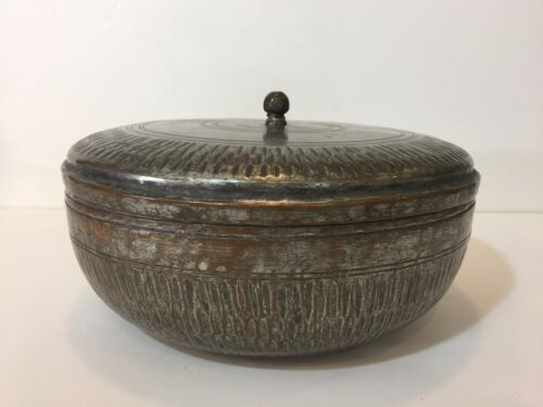 """Vintage Middle East Persian Hand Made Copper Round Box w/Cover, 5 1/2"""" H x 10"""" D"""
