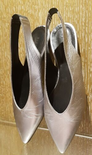 BRAND NEW PEWTER COLORED LEATHER SLING BACK FLATS SIZE 38 * RRP:$119.00