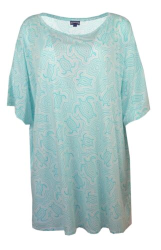 VILEBREQUIN TURTLE PRINT TURQUOISE GREEN BEACH POOL COVER-UP LOOSE TUNIC DRESS