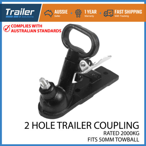 TRAILER HITCH 2 HOLE QUICK RELEASE COUPLING BLACK 50MM 2T ADR TESTED