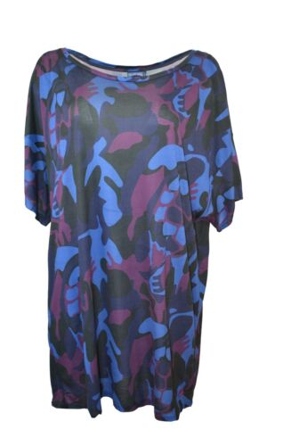 VILEBREQUIN FEUILLE CAMO TURTLE PRINT BEACH COVER-UP TUNIC DRESS SHORT SLEEVE