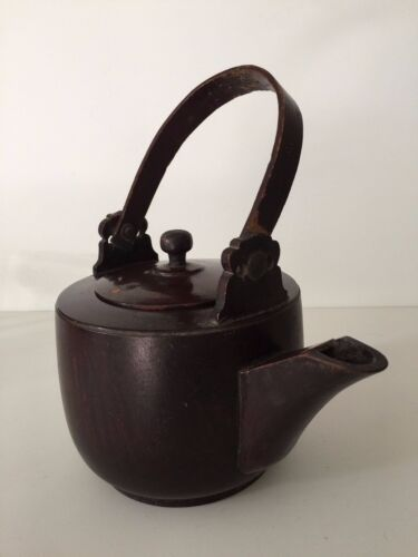 """Antique Rare Chinese Large Wooden Teapot Kettle, 11 1/2"""" High including Handle"""