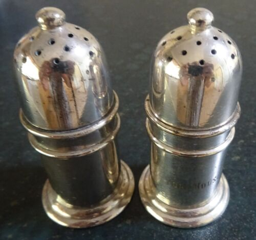 "PAIR OLD SILVER PLATE WALKER & HALL SALT & PEPPER SHAKERS ENGRAVED ""YORK HOUSE"""