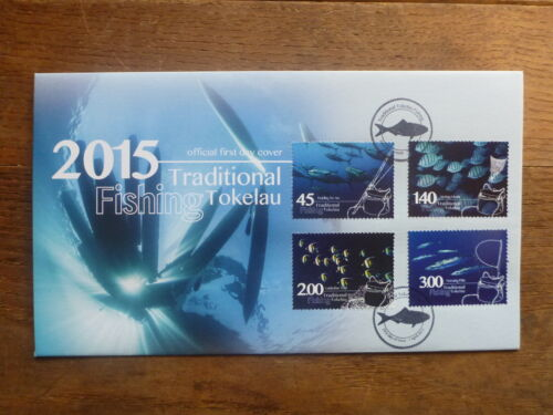TOKALAU 2015 FISHING SET 4 STAMPS FDC FIRST DAY COVER
