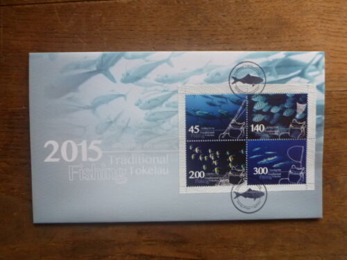 TOKALAU 2015 FISHING 4 STAMP MINI SHEET FDC FIRST DAY COVER