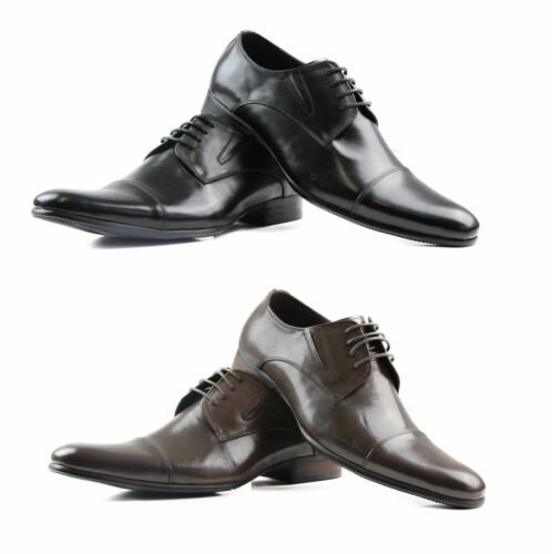 MENS ZASEL BLACK BROWN LEATHER LACE UP WORK FORMAL DRESS WEDDING SHOES - CASTRO