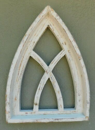 "Wooden Antique Style Church WINDOW Frame Primitive Wood Gothic 17 1/2"" Shabby"